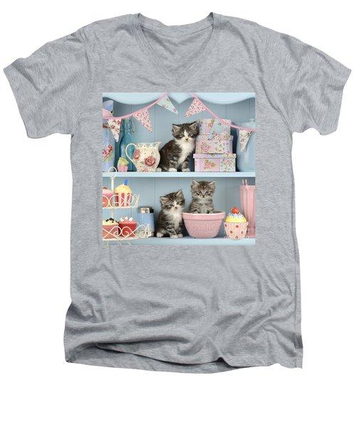 Baking Shelf Kittens Men's V-Neck T-Shirt by Greg Cuddiford