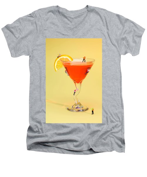Climbing On Red Wine Cup Men's V-Neck T-Shirt by Paul Ge
