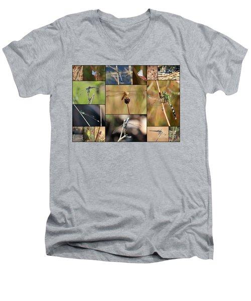 Collage Marsh Life Men's V-Neck T-Shirt by Carol Groenen