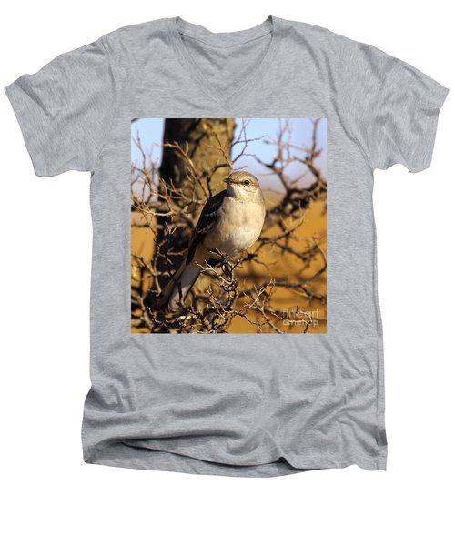 Common Mockingbird Men's V-Neck T-Shirt by Robert Frederick
