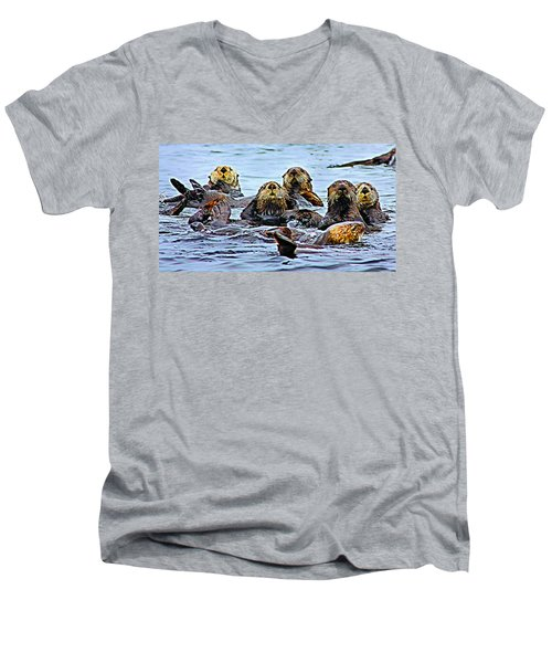 Couch Critters Men's V-Neck T-Shirt by Kristin Elmquist