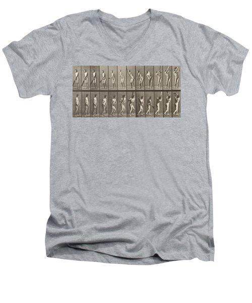 Cricketer Men's V-Neck T-Shirt by Eadweard Muybridge