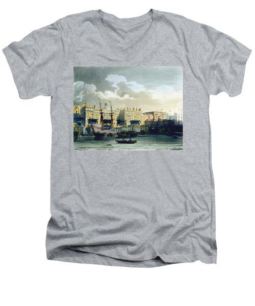 Custom House From The River Thames Men's V-Neck T-Shirt by T. & Pugin, A.C. Rowlandson