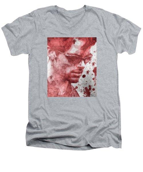 Cyclops X Men Paint Splatter Men's V-Neck T-Shirt by Dan Sproul