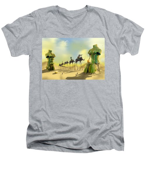 Dali On The Move  Men's V-Neck T-Shirt by Mike McGlothlen