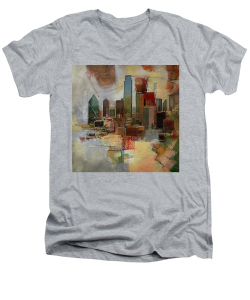Dallas Skyline 003 Men's V-Neck T-Shirt by Corporate Art Task Force