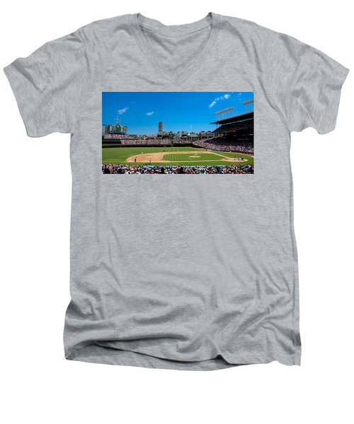 Day Game At Wrigley Field Men's V-Neck T-Shirt by Anthony Doudt