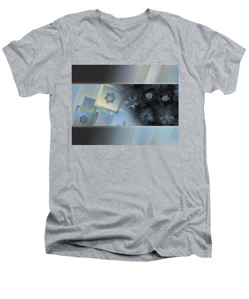 Snowflake Collage - Daybreak Men's V-Neck T-Shirt by Alexey Kljatov