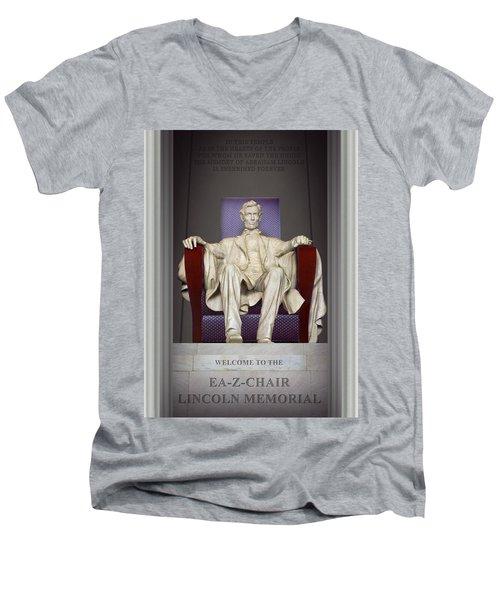 Ea-z-chair Lincoln Memorial 2 Men's V-Neck T-Shirt by Mike McGlothlen
