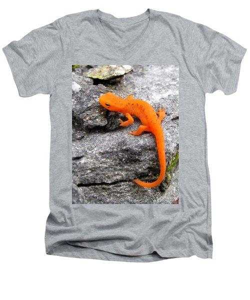 Orange Julius The Eastern Newt Men's V-Neck T-Shirt by Lori Pessin Lafargue