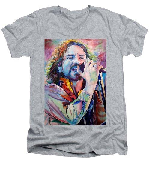 Eddie Vedder In Pink And Blue Men's V-Neck T-Shirt by Joshua Morton