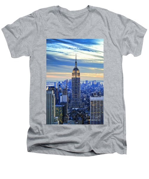 Empire State Building New York City Usa Men's V-Neck T-Shirt by Sabine Jacobs