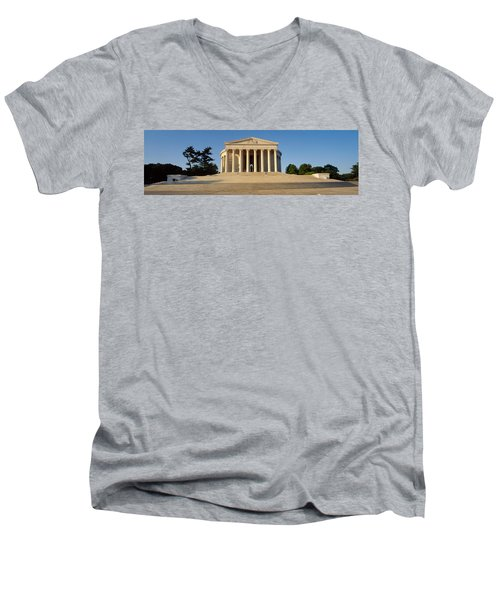 Facade Of A Memorial, Jefferson Men's V-Neck T-Shirt by Panoramic Images