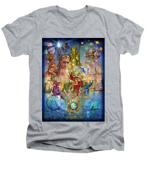 Fantasy Island Men's V-Neck T-Shirt by Ciro Marchetti