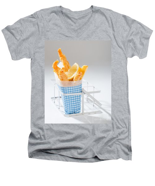 Fish And Chips Men's V-Neck T-Shirt by Amanda Elwell