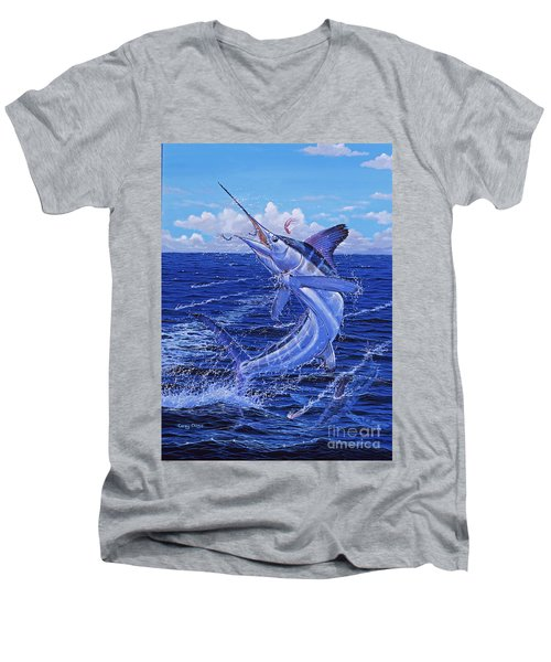 Flat Line Off0077 Men's V-Neck T-Shirt by Carey Chen