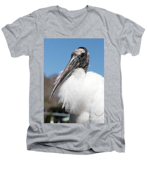 Fluffy Wood Stork Men's V-Neck T-Shirt by Carol Groenen
