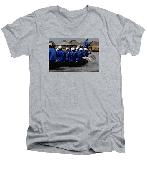 Men's V-Neck T-Shirt featuring the photograph Ganvie - Lake Nokoue by Travel Pics