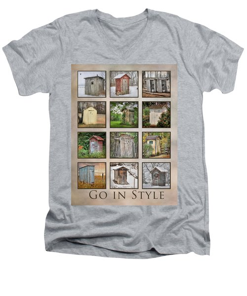 Go In Style - Outhouses Men's V-Neck T-Shirt by Lori Deiter