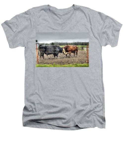 Head To Head Men's V-Neck T-Shirt by Cricket Hackmann