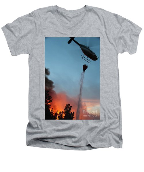 Men's V-Neck T-Shirt featuring the photograph Helicopter Drops Water On White Draw Fire by Bill Gabbert