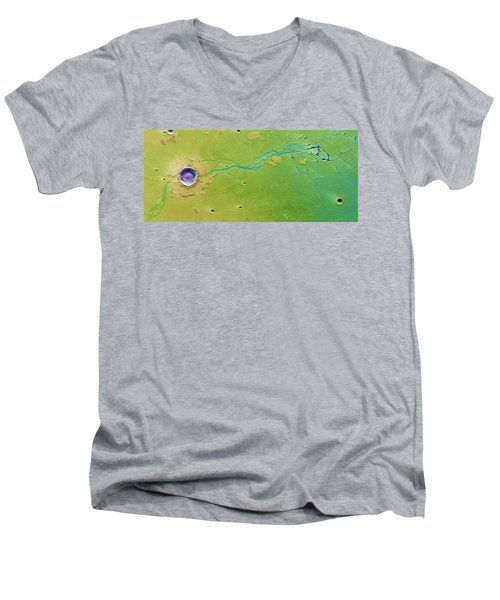Men's V-Neck T-Shirt featuring the photograph Hephaestus Fossae, Mars by Science Source