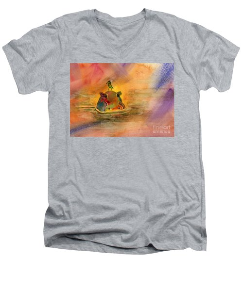 Hippo Birdie Men's V-Neck T-Shirt by Amy Kirkpatrick