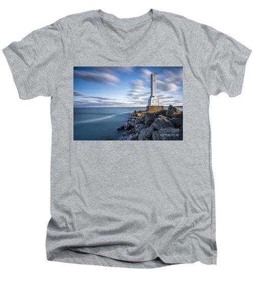 Huron Harbor Lighthouse Men's V-Neck T-Shirt by James Dean