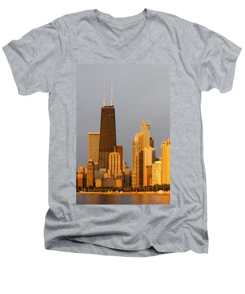 John Hancock Center Chicago Men's V-Neck T-Shirt by Adam Romanowicz