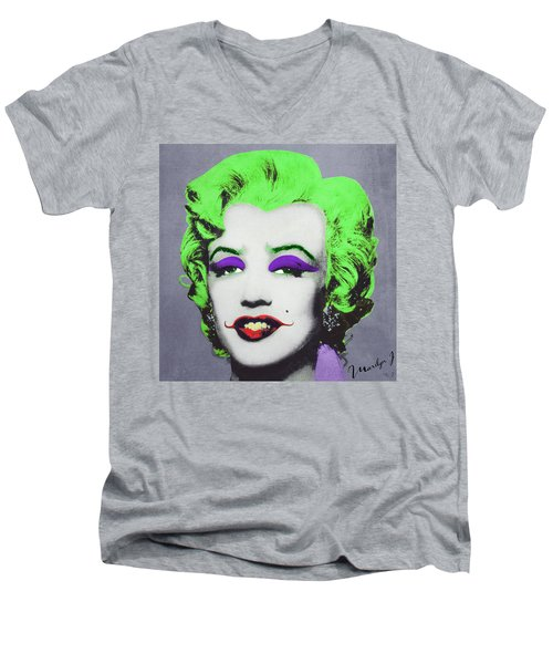 Joker Marilyn Men's V-Neck T-Shirt by Filippo B