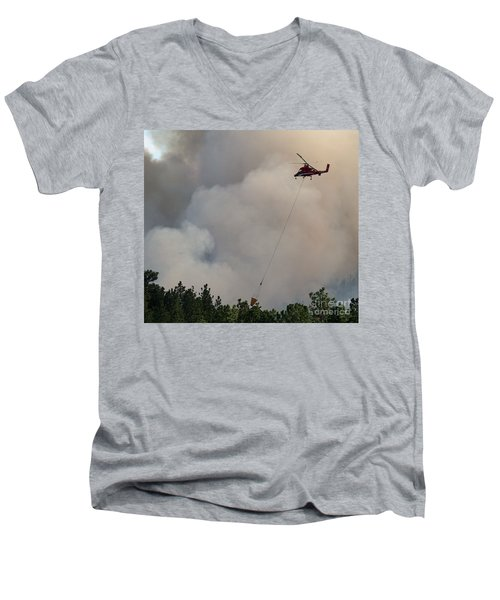 Men's V-Neck T-Shirt featuring the photograph K-max Helicopter On Myrtle Fire by Bill Gabbert
