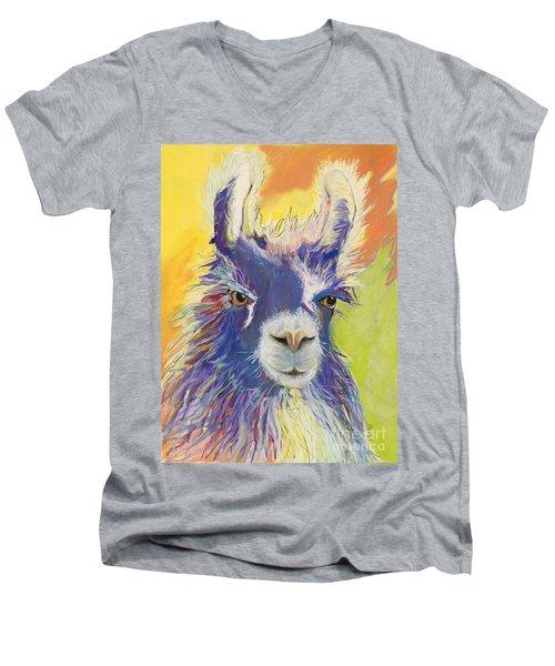King Charles Men's V-Neck T-Shirt by Pat Saunders-White