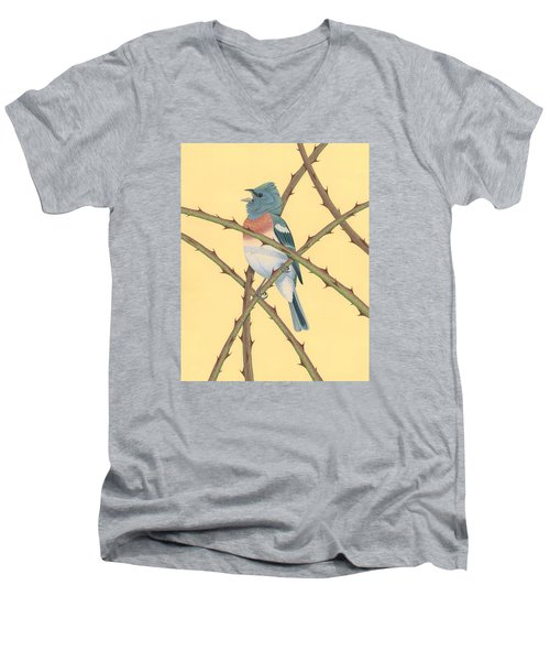 Lazuli Bunting Men's V-Neck T-Shirt by Nathan Marcy