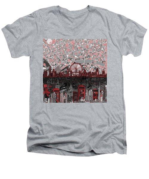 London Skyline Abstract 6 Men's V-Neck T-Shirt by Bekim Art