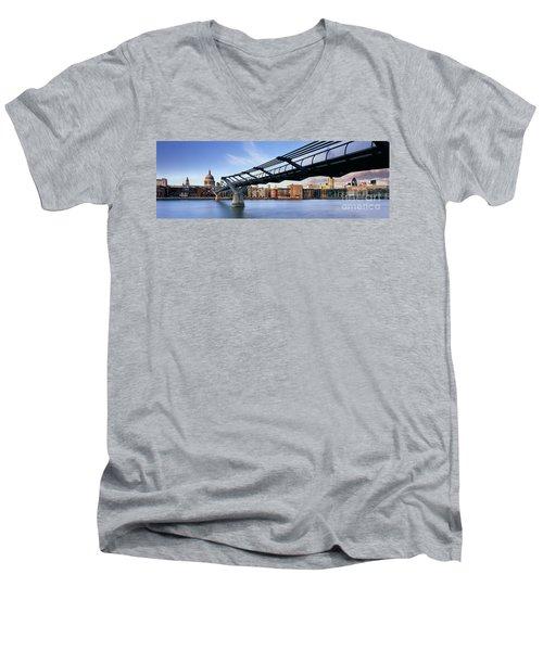Millennium Bridge London 1 Men's V-Neck T-Shirt by Rod McLean