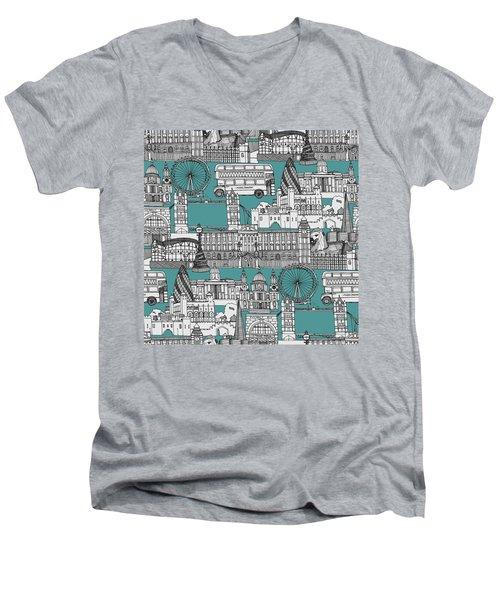 London Toile Blue Men's V-Neck T-Shirt by Sharon Turner
