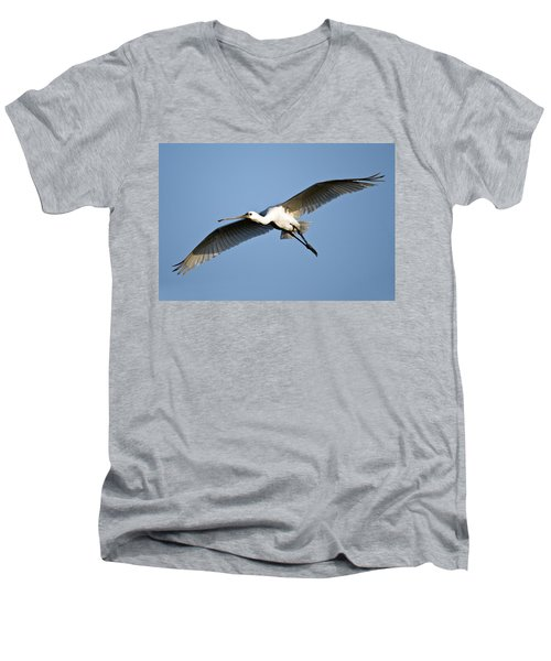 Low Angle View Of A Eurasian Spoonbill Men's V-Neck T-Shirt by Panoramic Images