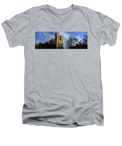 Low Angle View Of An Abbey, Westminster Men's V-Neck T-Shirt by Panoramic Images
