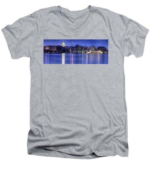 Madison Skyline Reflection Men's V-Neck T-Shirt by Sebastian Musial
