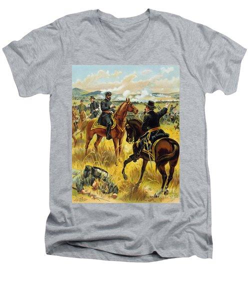 Major General George Meade At The Battle Of Gettysburg Men's V-Neck T-Shirt by Henry Alexander Ogden