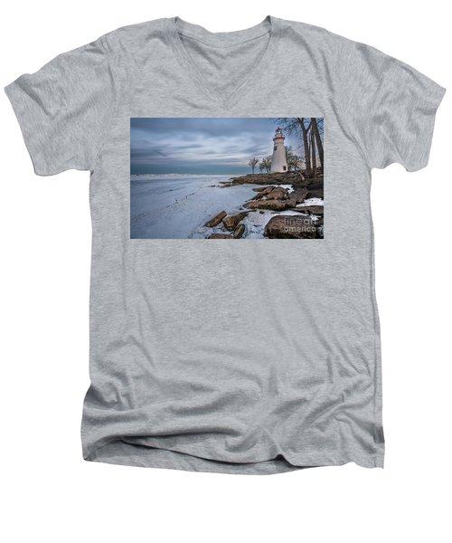 Marblehead Lighthouse  Men's V-Neck T-Shirt by James Dean