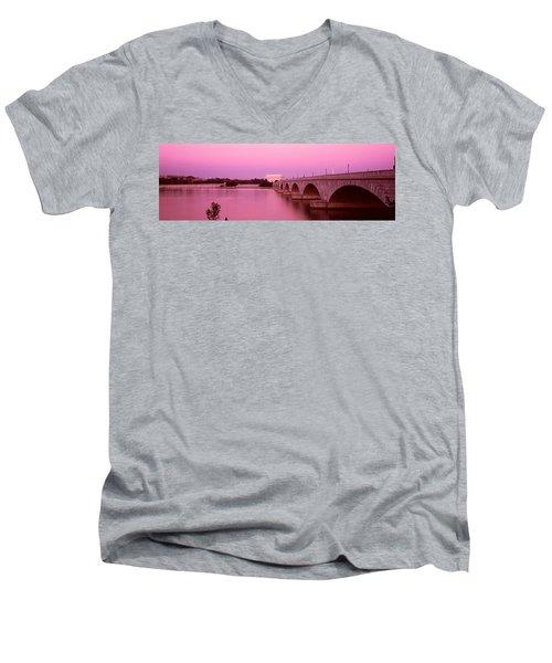 Memorial Bridge, Washington Dc Men's V-Neck T-Shirt by Panoramic Images