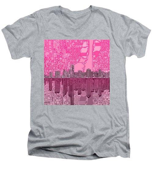 Miami Skyline Abstract 4 Men's V-Neck T-Shirt by Bekim Art