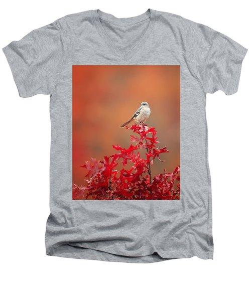 Mockingbird Autumn Men's V-Neck T-Shirt by Bill Wakeley