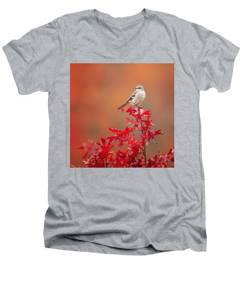 Mockingbird Autumn Square Men's V-Neck T-Shirt by Bill Wakeley
