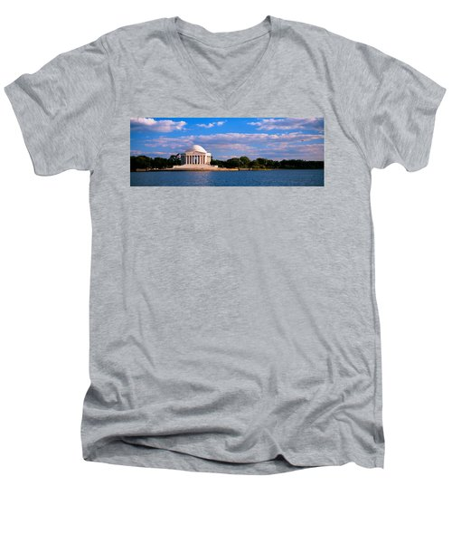 Monument On The Waterfront, Jefferson Men's V-Neck T-Shirt by Panoramic Images