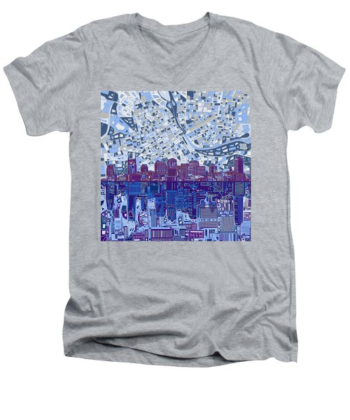 Nashville Skyline Abstract 8 Men's V-Neck T-Shirt by Bekim Art