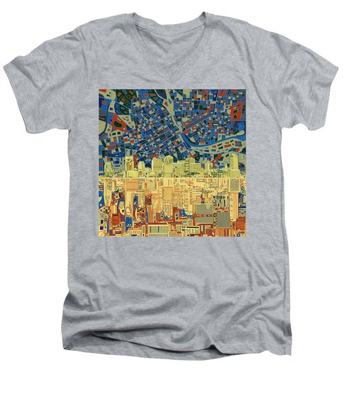 Nashville Skyline Abstract 9 Men's V-Neck T-Shirt by Bekim Art