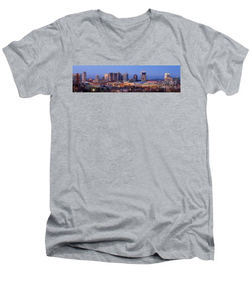 Nashville Skyline At Dusk Panorama Color Men's V-Neck T-Shirt by Jon Holiday