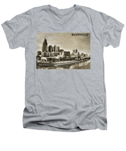 Nashville Tennessee Men's V-Neck T-Shirt by Dan Sproul